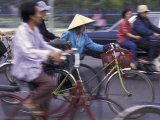 Street Crowded with Bicycles and Motorbikes, Saigon, Vietnam Photographic Print by Keren Su