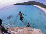 Cliff Jumping, Playa Abou, Playa Kanepa, Curacao Photographic Print by Michele Westmorland