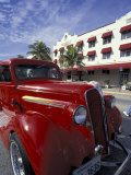 Ocean Drive with Classic Hot Rod, South Beach, Miami, Florida, USA Fotodruck von Robin Hill