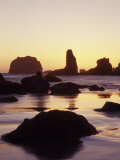 Sunset and Seastacks, Bandon Beach, Oregon, USA Photographic Print by Darrell Gulin