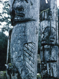 Close-up of Totem Poles Made of Wood Photographic Print