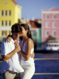 Couple at the Willemstad Waterfront, Curacao, Caribbean Photographic Print by Greg Johnston