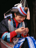 Tip-Top Miao Girl Doing Traditional Embroidery, China Photographic Print by Keren Su