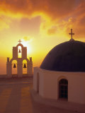 Blue Dome Church and Bell Tower, Santorini, Greece Photographic Print by Walter Bibikow