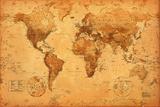 Mapa světa, starobylá (text vangličtině) Fotky