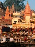 The Ganges River in Varanasi, India Fotografisk tryk af Dee Ann Pederson