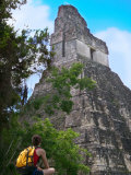 Western Traveler with Temple I, Tikal Ruins, Guatemala Photographic Print by Keren Su