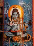 Vishnu Hindu God Mural, India Fotografisk tryk af Dee Ann Pederson