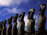 Huge Moai, Ahu Akiri, Easter Island, Chile Photographic Print by Keren Su