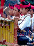 Boys' Gamelan Orchestra and Barong Dancers, Bali, Indonesia Photographic Print by John & Lisa Merrill