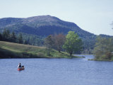 Canoeing on Little Long Pond, Parkman Mountain Spring, Maine, USA Photographic Print by Jerry & Marcy Monkman