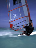 Windsurfing at Malmok Beach, Antigua, Caribbean Photographic Print by Greg Johnston