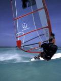 Windsurfing at Malmok Beach, Antigua, Caribbean Photographic Print by Greg Johnston