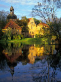 Sunset on Straupe Castle and Reflection Pond, Gauja National Park, Latvia Photographic Print by Janis Miglavs