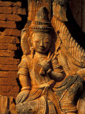 Buddha Carving at Ancient Ruins of Indein Stupa Complex, Myanmar Photographic Print by Keren Su