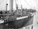 Basque Refugee Children from Bilbao Crowd the Deck of the Barcelona Liner Habana Photographic Print