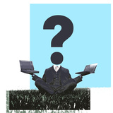 Businessman Sitting on Grass with Laptops and a Question Mark On Reprodukcja zdjęcia