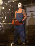 Eminem Rap Star in Concert at the London Arena, Wearing a Mask and Holdin a Chainsaw, February 2001 Fotografisk tryk