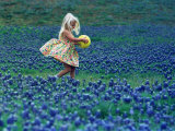 A Girl, 3, Goes for a Romp Through a Field of Bluebonnets Photographic Print