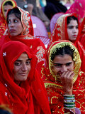 Two Pakistani Brides, Smile During a Mass Wedding Ceremon Photographic Print