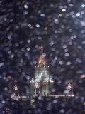 Moscow State University is Illuminated During a Rare Snow Fall This Winter Season Photographic Print
