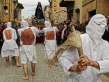 "Several Masked Penitents Beats Their Backs During ""Los Picaos"" Brotherhood Procession Photographic Print"