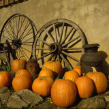 Pumpkins, Wagon Wheels and Milk Can, Todd, NC Photographic Print by Tom Dietrich