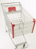 Silver Grocery Cart with Red Trim Photographic Print