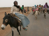 Sudanese Women Ride Donkeys at the Entrance of the Zamzam Refugee Camp Fotografisk tryk