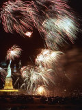 Fireworks Burst Around the Statue of Liberty Photographic Print