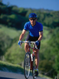 Bicyclist on Road, Napa Valley, CA Photographic Print by Robert Houser