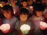 Children Choirs Join a Candle Light Procession for the World's Peace Photographic Print