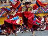 Monks Perform a Black Hat Dance Photographic Print