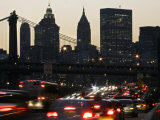 Traffic Moves South Towards Lower Manhattan During Rush Hour Photographic Print