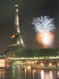 Bastille Day Fireworks Explode Over the Seine River Next to the Eiffel Tower Photographic Print