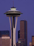 Space Needle at Dusk, Seattle, Washington, USA Photographic Print by William Sutton