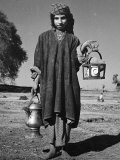 A Young Farm Girl Carries Salt Tea at Midday for Her Parents Photographic Print
