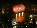 Fireworks Explode Over Victoria Harbour to Celebrate Chinese Lunar New Year Photographic Print