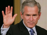 U.S. President George W. Bush Waves at the Audience Photographic Print