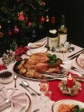 Christmas Dinner Table Setting Impressão fotográfica por David Ball