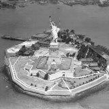 This Aerial View Shows the Statue of Liberty on Liberty Island Photographic Print