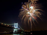 Fireworks Light up the Sky Over the Triborough Bridge and the East River Photographic Print