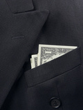 Black Wool Suit with American Dollar Bills in the Pocket Photographic Print