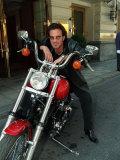 Tico Torres Drummer of Bon Jovi and Boyfriend of Supermodel Eva Herzagova Sits with His Motorbike Fotografisk tryk