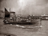 A Yarmouth Herring Boat Leaves the Mouth of the River Yar Norfolk, 1935 Photographic Print