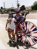 Bruce Dickinson with Rock Group Iron Maiden Standing Beside Man Dressed in Uncle Sam Suit Reproduction photographique
