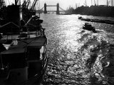 Ships on the Thames, 1955 Photographic Print