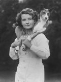 Mrs Tudor-Williams with One of Her Basenjis Kwango of the Congo Photographic Print by Thomas Fall