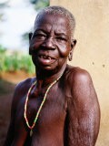 Portrait of Elderly Betamaribe (Somba) Woman, Koussou, Benin Photographic Print by Pershouse Craig