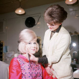 Singer Dusty Springfield Being Made up by Hilary Bates for Thank Your Lucky Stars Photographie
